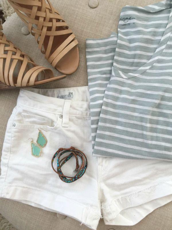 Summer Fashion - Halogen tee, white GAP jean shorts, Hinge sandals, wrap bracelet, Kendra Scott earrings