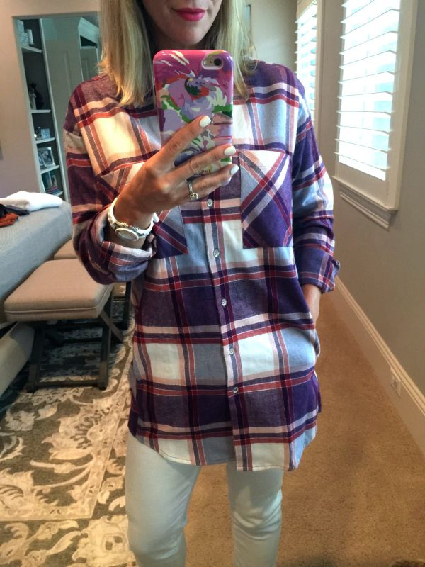 Fall Fashion - plaid boyfriend shirt, white jeans