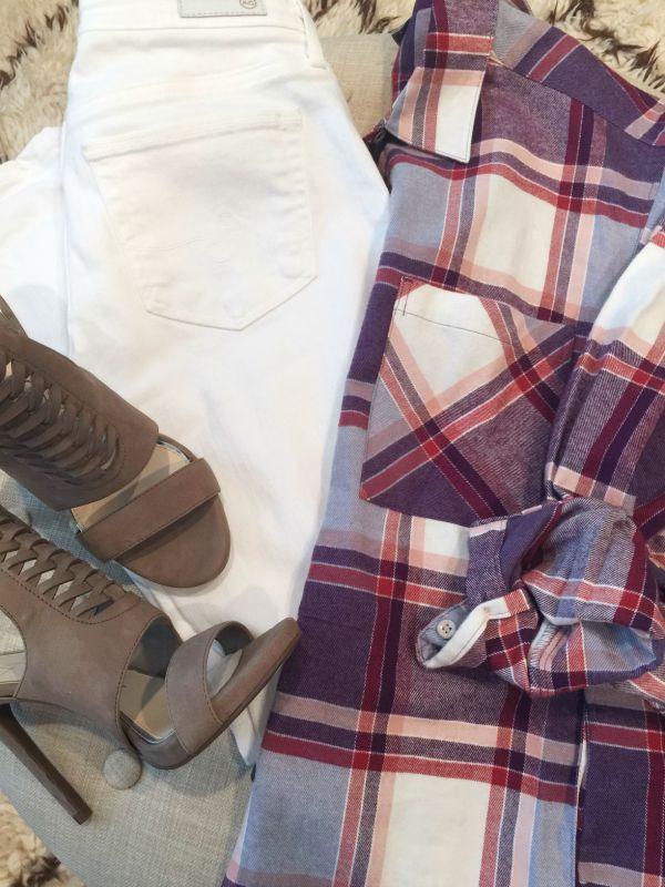 Fall Fashion - plaid boyfriend shirt, white jeans, Jessica Simpson heels