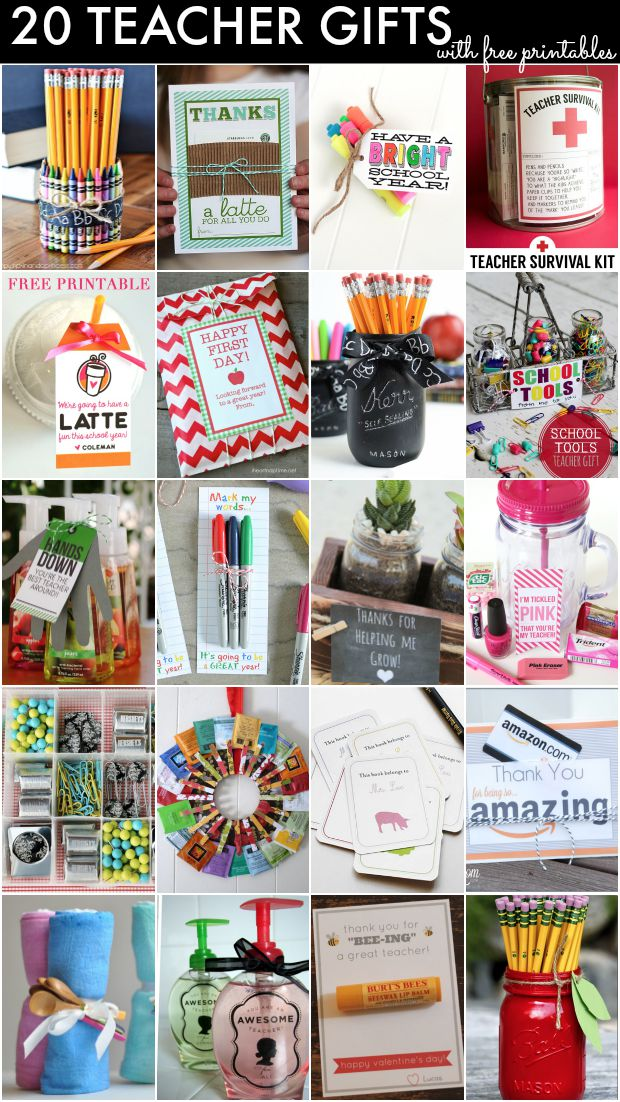 20 great, inexpensive teacher gifts with lots of FREE printables