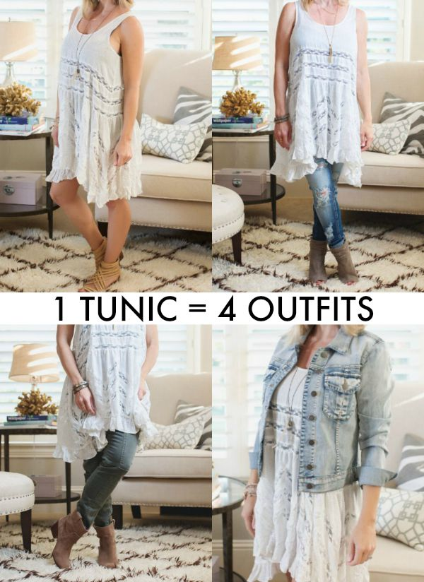 Fall Fashion - 4 Outfits from the Free People Lace Trim Tunic
