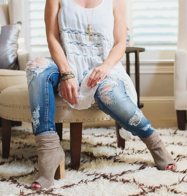 Fall Fashion - Free People Lace Trim Tunic + Distressed Jeans