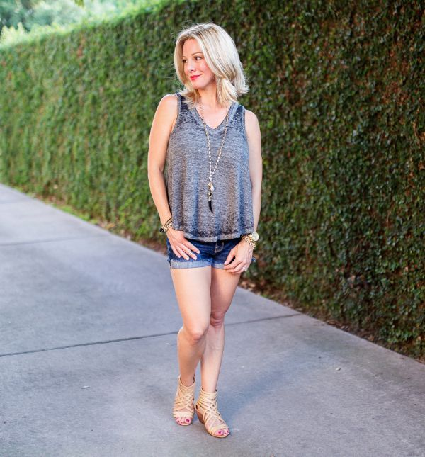 Summer Fashion - Free People tank and jean shorts