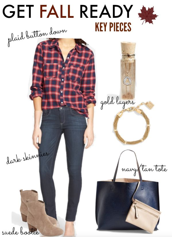 Fall Fashion - plaid button down, dark skinny jeans, gold accessories, navy/tan reversible vegan leather tote
