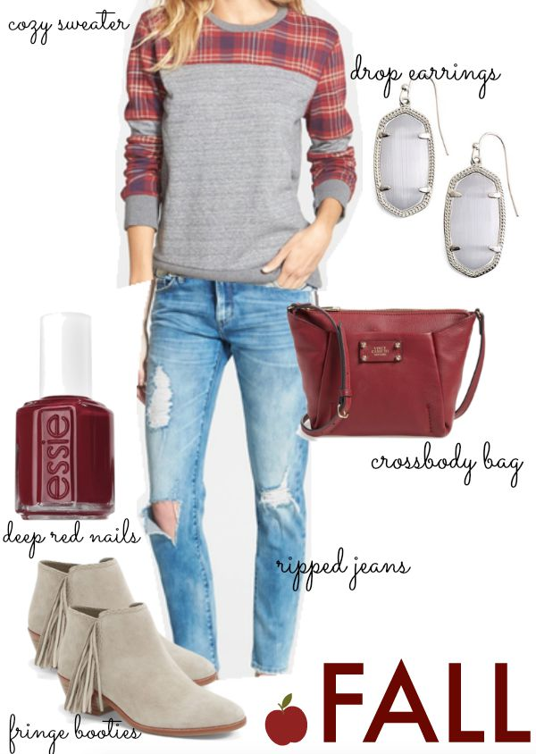 Fall Fashion - sweater, ripped jeans, fringe booties and dark red nails (Limited Addition) by Essie
