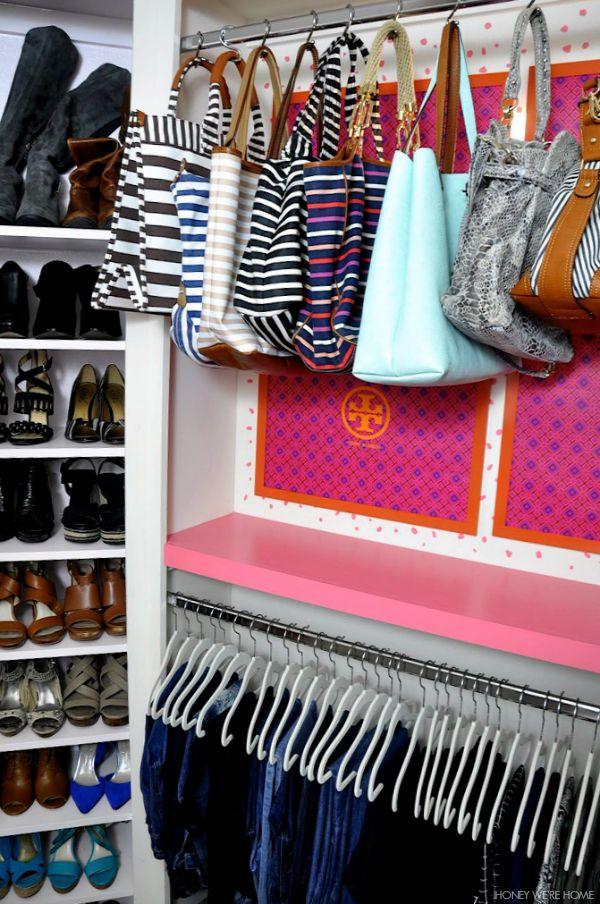 Organized purses hung from shower hooks - genius!