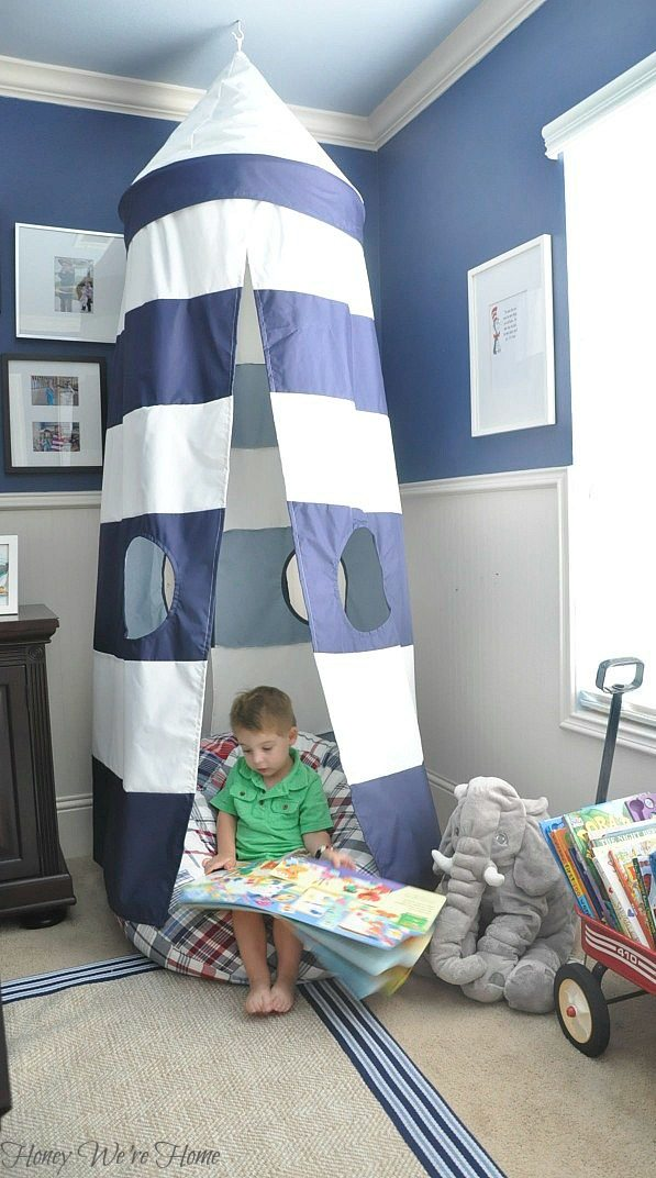 Big boy room with Pottery Barn striped canopy - perfect reading nook