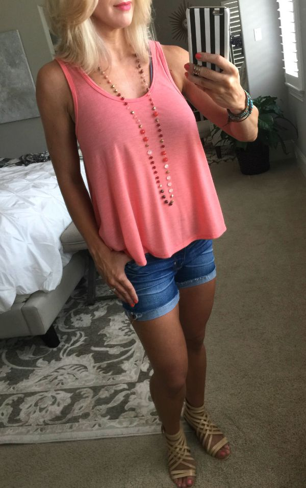 summer fashion - tank, jean shorts, strappy sandals - tank (2 for $28)
