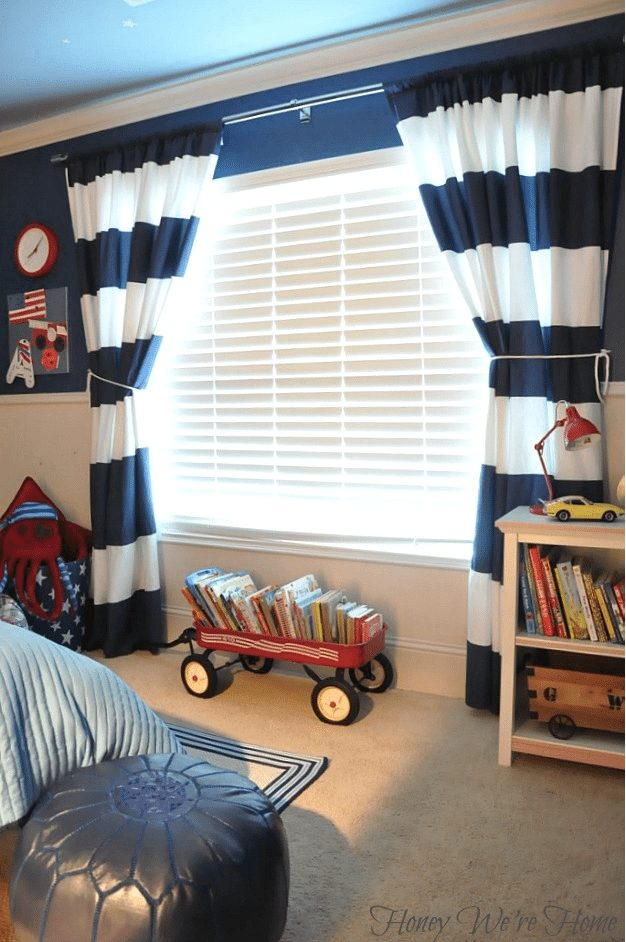 Easy DIY - turn West Elm stripe shower curtains into drapes