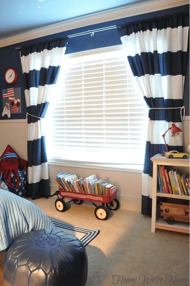 Easy DIY - turn West Elm stripe shower curtains into drapes