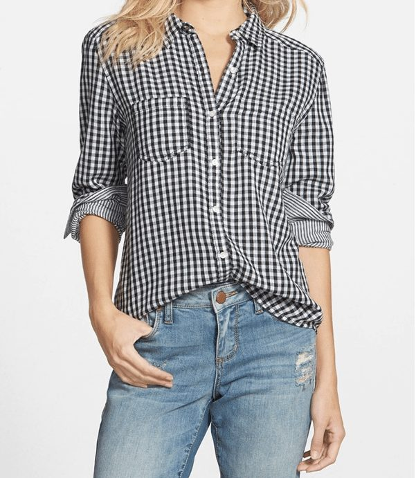 Fall Fashion - gingham and stripe button-down, perfect for fall
