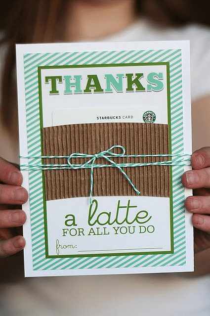 Teacher Gift- Thanks a Latte Starbucks gift card with free printable via Skip to My Lou