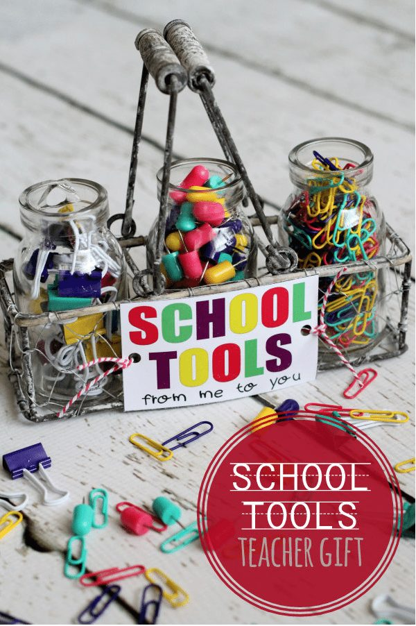Teacher Gift- School Tools with FREE printable via Lil Luna