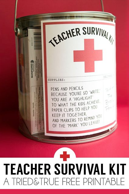 Teacher Gift - Teacher Survival Kit with FREE printable via Tried & True