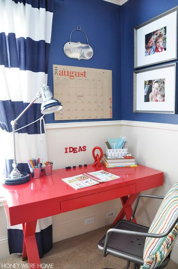 Big kid room with World Market Josephine desk in red - perfect homework nook