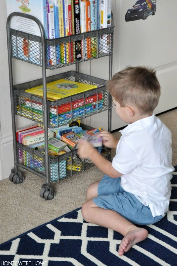 The zinc 3-tier rolling cart makes great book storage in a kid's room