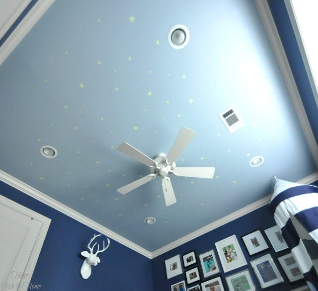 Painted ceiling with glow in the dark stars from Pottery Barn Kids
