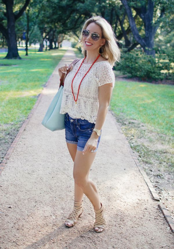 Crochet top (under $20), jean shorts and scrappy sandals