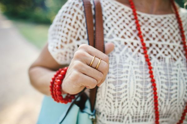 Crochet top, Gorjana ring