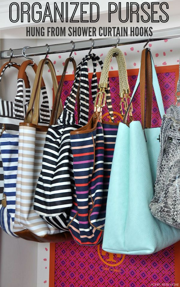 Organized purses hung from shower hooks - genius!