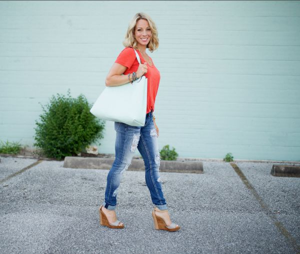 Fall fashion - perfect Halogen slub tee with distressed jeans and wedges
