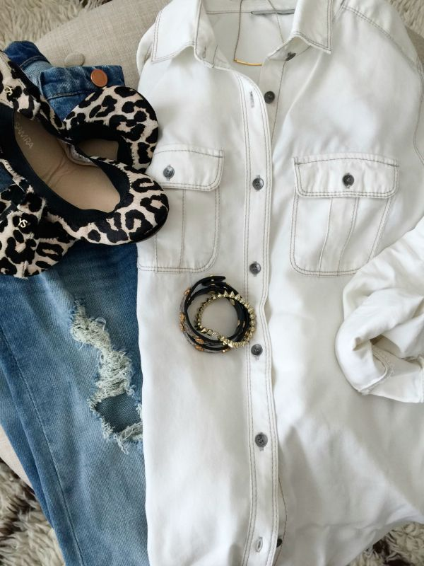 Fall fashion - white button down, ripped jeans, and leopard flats