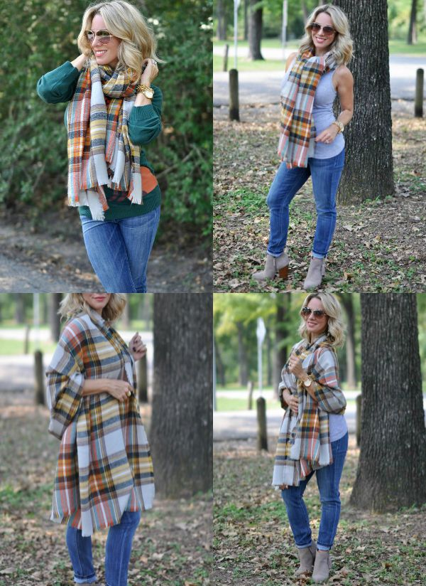 Fall Fashion - one scarf multiple looks and the scarf is only $25!