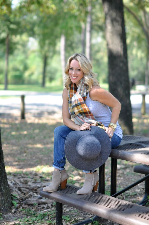Fall Fashion - plaid scarf, tank top, skinny jeans, booties and hat