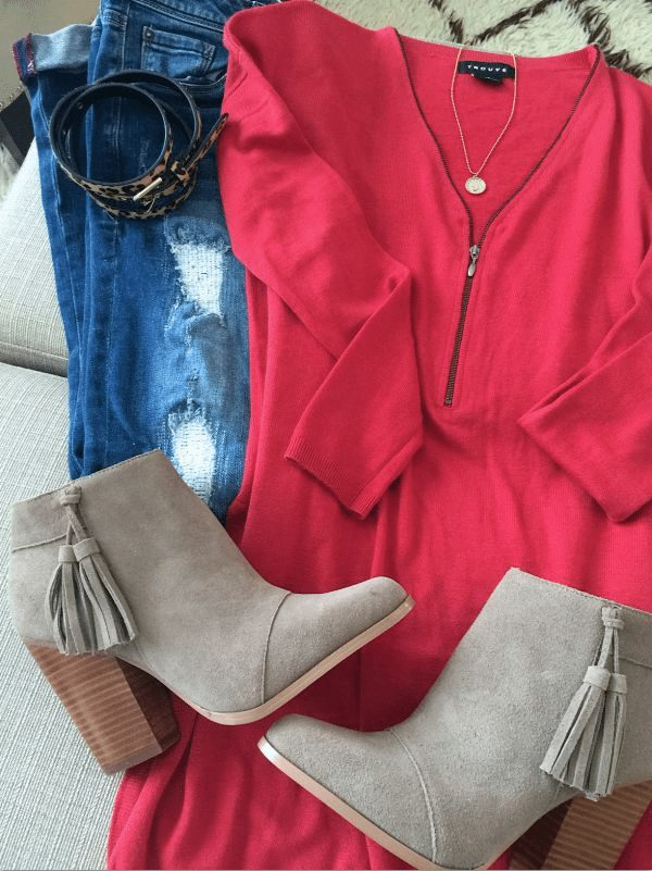 Fall fashion- distressed jeans, zip sweater, booties