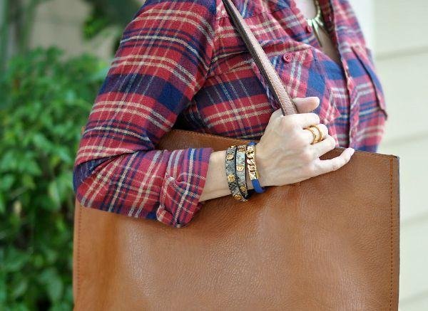 Fall Fashion - plaid shirt dress - wrap bracelet and reversible tote bag