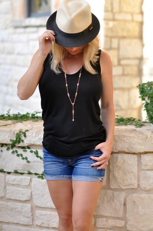 Casual fashion - tank, jean shorts, hat
