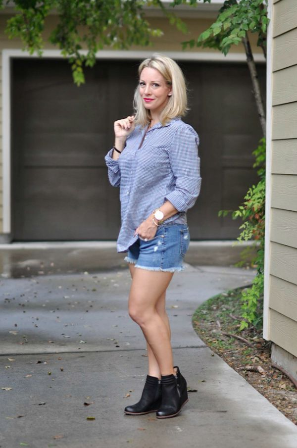 Fall fashion - button down shirt + cutoff jean shorts + booties, great for transitioning from summer to fall