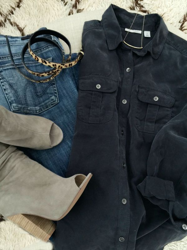Fall fashion - button down, ripped jeans, and booties