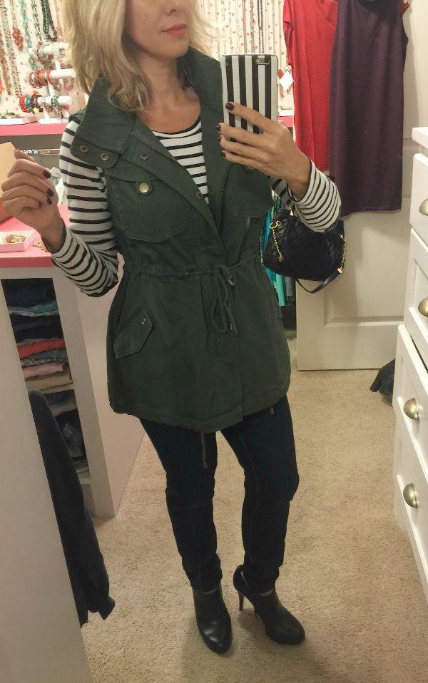 Fall fashion - skinny jeans, military vest, striped shirt