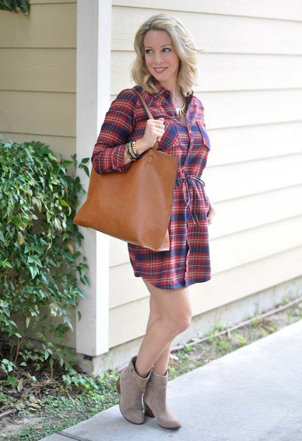 Fall fashion - love mixing a plaid shirtdress with a low bootie