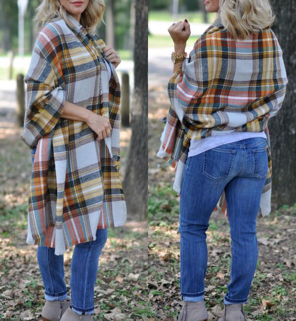 Fall Fashion - plaid blanket scarf, tank top, skinny jeans and booties