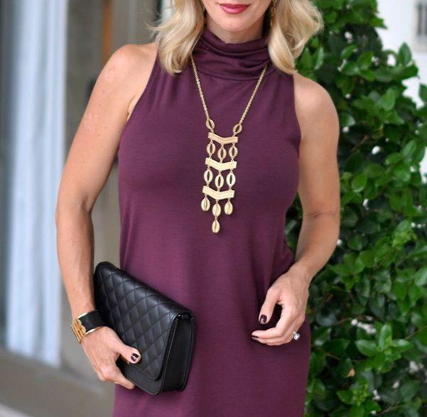 Fall fashion - Leith A-Line Turtleneck dress, Stella & Dot Kimberly necklace