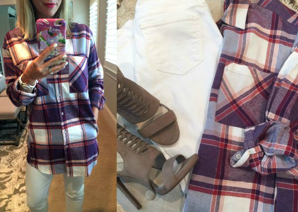 Fall fashion - plaid cotton flannel boyfriend shirts