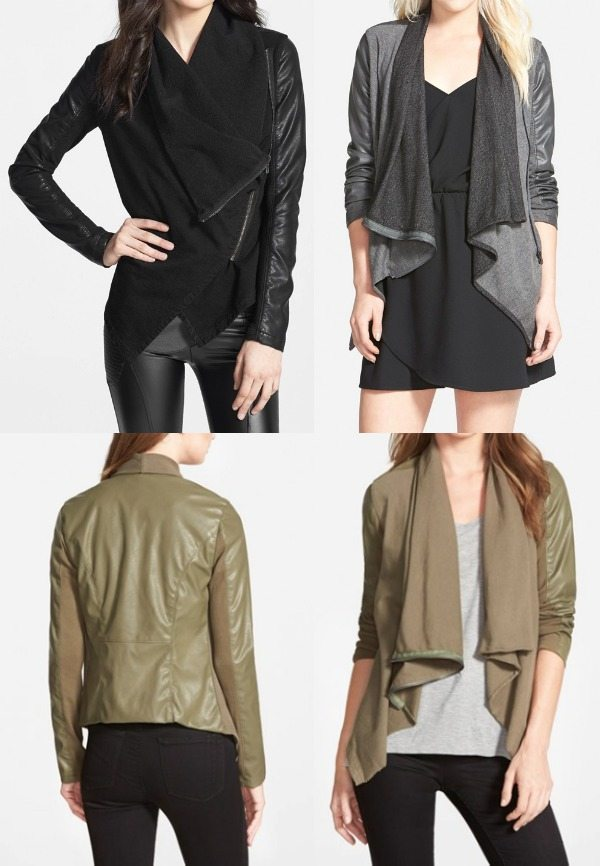 fall fashion - BLANKNYC Drape Front Mixed Media Jacket