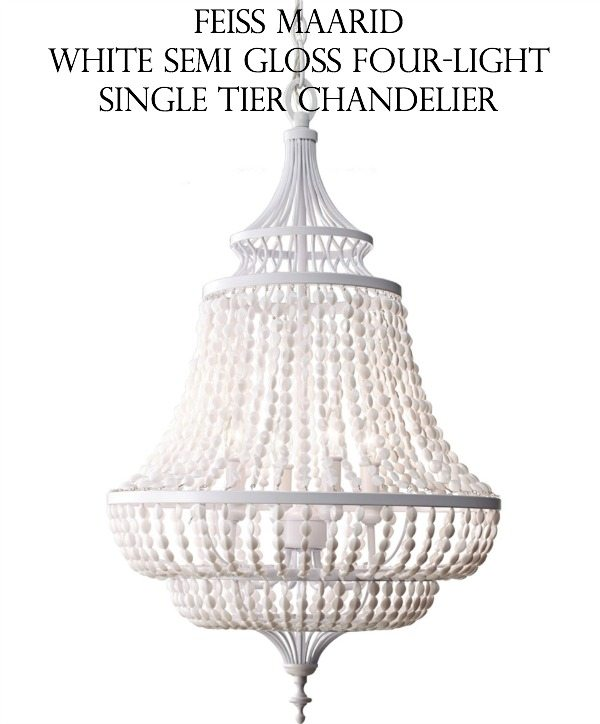 Unique Gorgeous chandelier Feiss Maarid White Semi Gloss Four Light Single Tier Chandelier