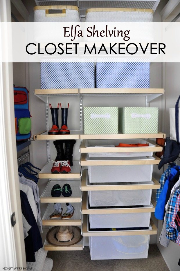 Elfa shelving kid closet organization