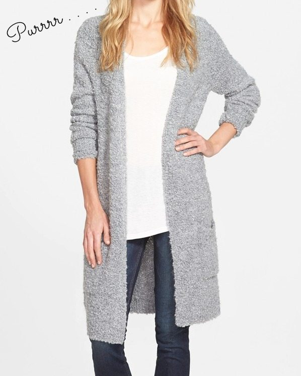 Fall fashion - Halogen Long Boucle Open Cardi