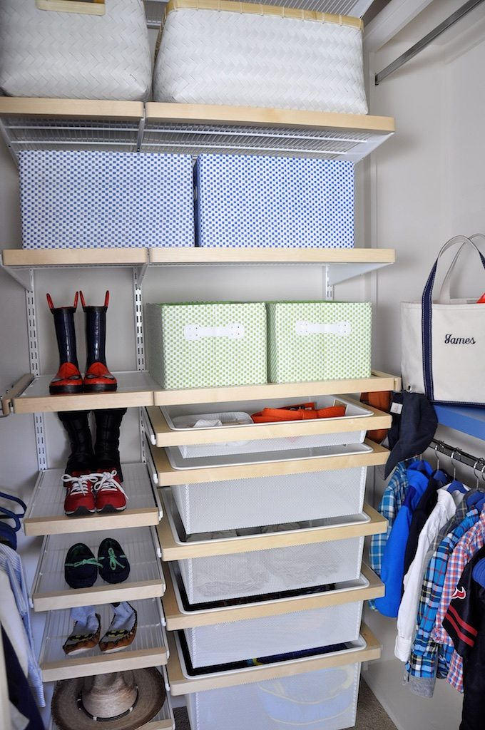 Elfa shelving kid closet organization