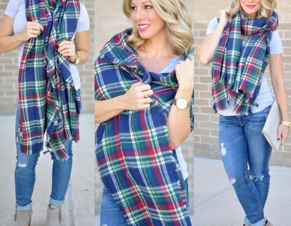 Fall Fashion - ModCloth blanket scarf with tee, jeans and booties