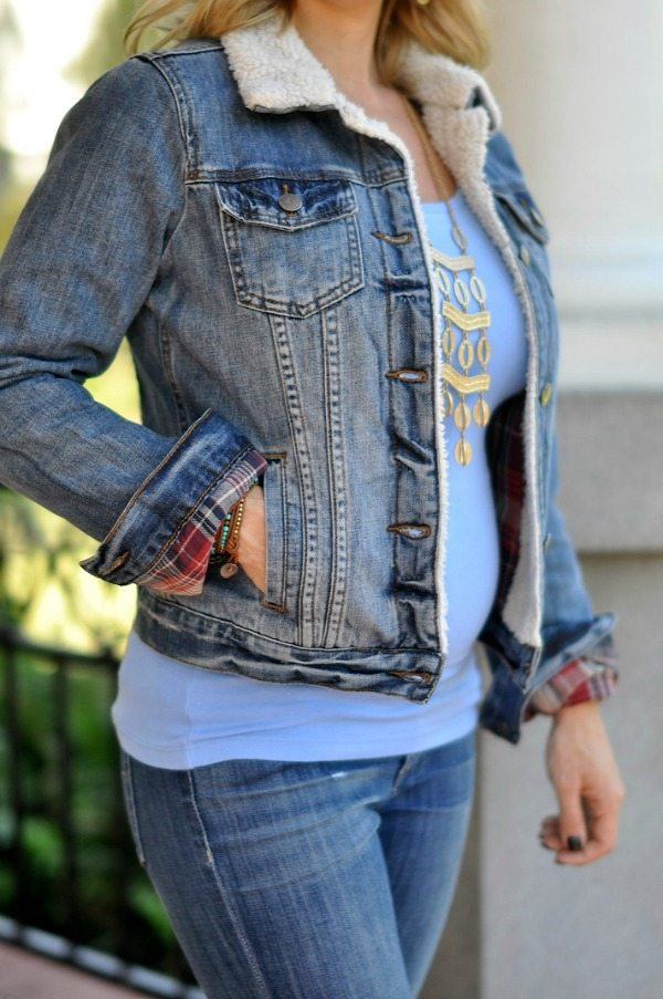 Fall Fashion - ModCloth jean jacket with, jeans and booties