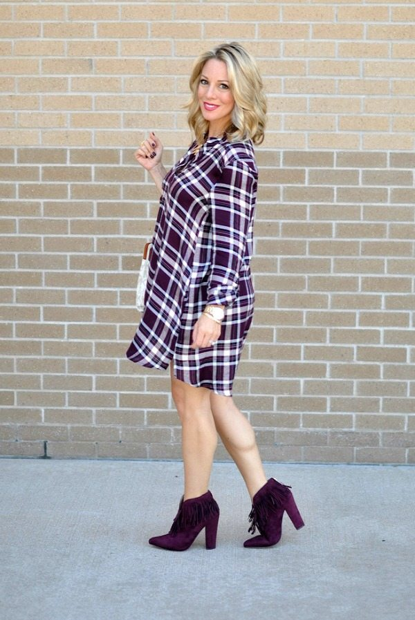 Fall Fashion - ModCloth shirtdress/tunic in plum with fringe booties