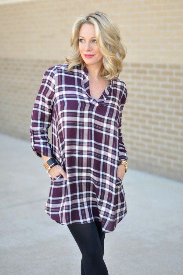 Fall Fashion - ModCloth shirtdress/tunic in plum with black tights