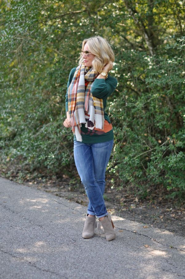 Fall Fashion - plaid blanket scarf, sweater, skinny jeans and booties