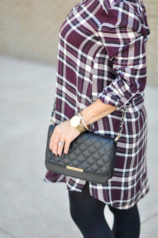 Fall Fashion - ModCloth shirtdress/tunic in plum with black tights