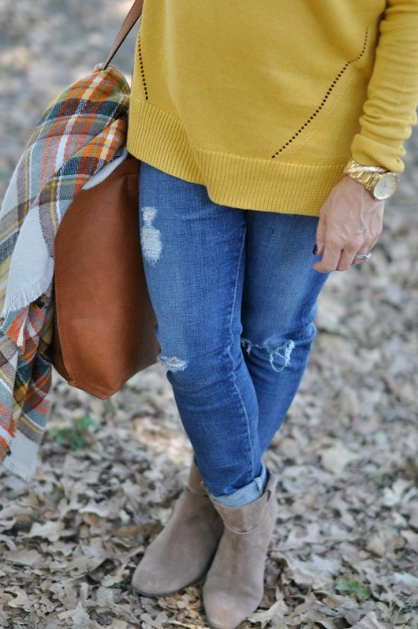 Fall Fashion - ModCloth blanket scarf with sweater, jeans and booties